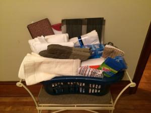 hamper of donated items