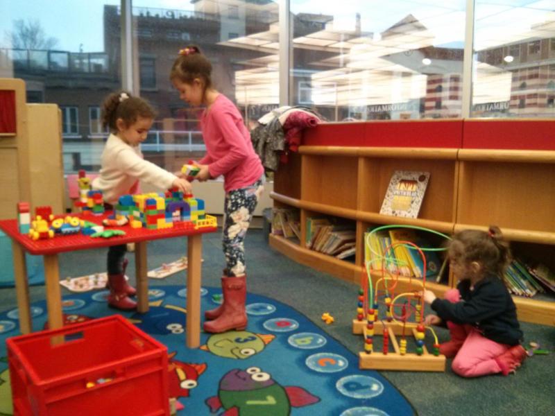 Having fun at the library.