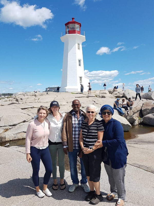 OHRA members with a newcomer at Peggy's Cove